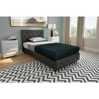 Porch & Den Bristol Black Faux Leather Upholstered Twin Bed