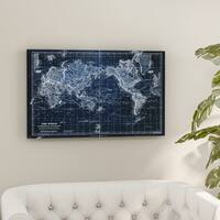 Porch & Den Vintage World Map VI Blue - Premium Gallery Wrapped Canvas