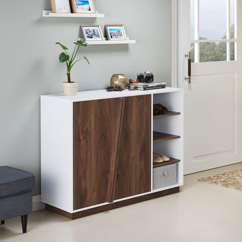 Desi Contemporary Distressed Walnut Storage Cabinet by FOA