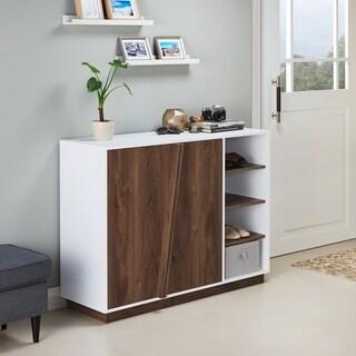 Furniture of America Desi Contemporary White Distressed Walnut Finish Wood Storage Cabinet