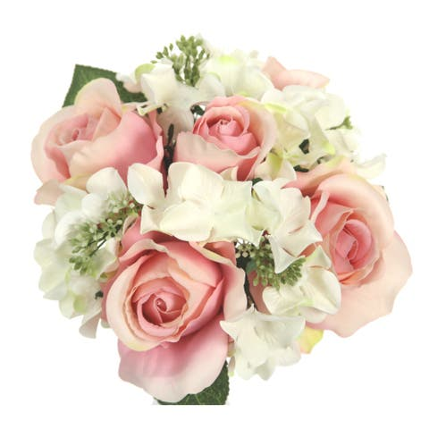 9 Stems Artificial Rose and Hydrangea Mixed Bouquet