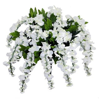 15 Stems Wisteria Long Hanging Bush Flowers - N/A (Option: CREAM)