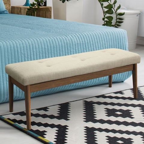 Furniture of America Drima Mid-Century Modern Tufted 48-inch Accent Bench