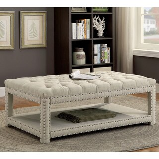 Furniture of America Hasa I Tufted Faux Linen Large Bench