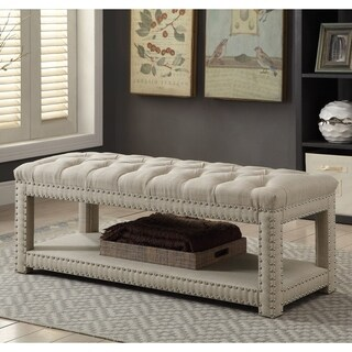 Furniture of America Hasa II Contemporary Tufted Linen-like Fabric Metal Wood Foam 48-inch Small Bench (3 options available)