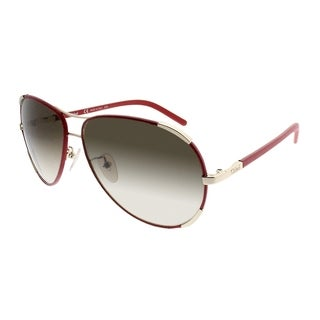 Chloe Aviator CE 100SL 721 Women Red Gold Frame Brown Gradient Lens Sunglasses