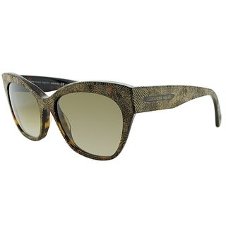 Alexander Mcqueen Cat-eye AM 4261 OFN DB Women Gold Havana Frame Brown Gradient Lens Sunglasses