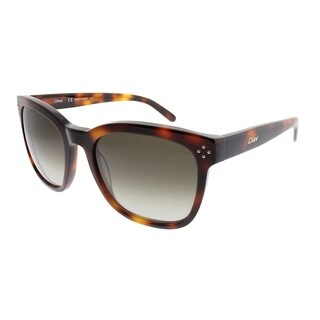 Chloe Square CE 692S 219 Women Tortoise Frame Green Gradient Lens Sunglasses