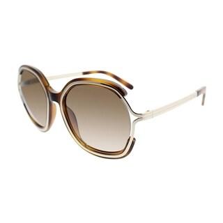Chloe Round CE 689S 214 Women Light Brown Frame Brown Gradient Lens Sunglasses