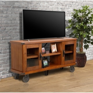 OS Home 33260 Industrial Brown Wood 60-inch-wide TV Console with Glass Doors