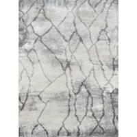 Momeni Matrix Madrid Grey and Ivory Abstract Area Rug (7'6 x 9'6)