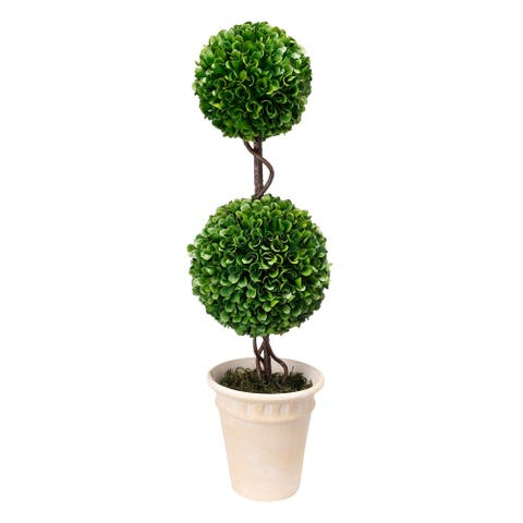 Potted Double Ball Topiary - Green