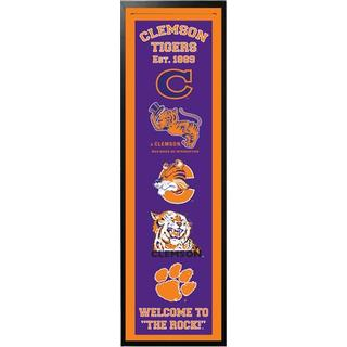 14x37 Team Collegiate Logo Felt Banner with Custom Frame (More options available)