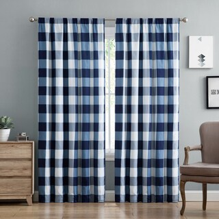 Truly Soft Everyday Buffalo Check Printed Curtain Panel Pair