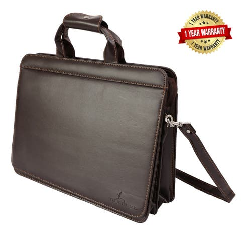 DEERLUX Brown Leather Briefcase, Mens Messenger Laptop Business Bag