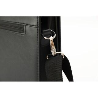 DEERLUX Black Genuine Leather Laptop Briefcase, Mens Business Messenger Bag