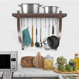Wall Mount Pot Rack with Hooks