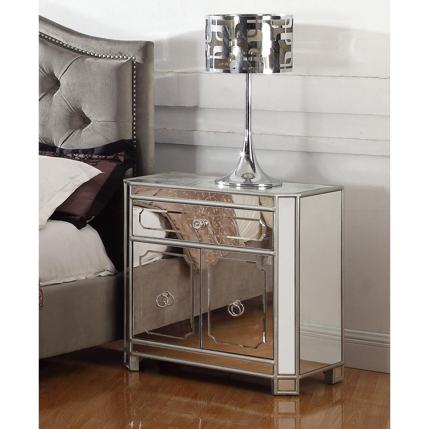Best Master Furniture Mirrored 2 Drawer Nightstand Overstock 19484312