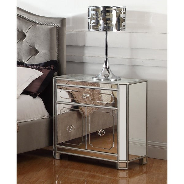 Beau Best Master Furniture 2 Drawer Mirrored Nightstand With Ring Pull Handles