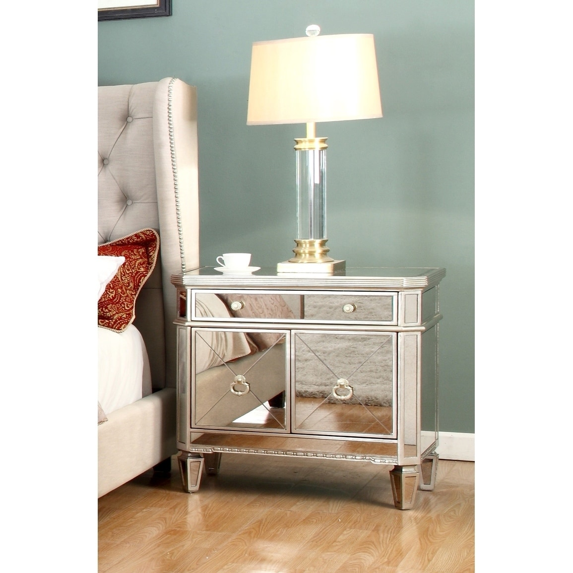 Best Master Furniture Silver With Gold 1 Drawer Nightstand