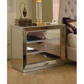 Best Master Furniture 3 Drawer Mirrored Nightstand