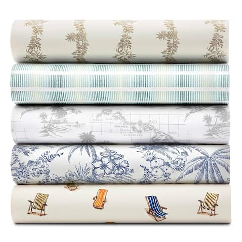 Tommy Bahama Cotton Percale Printed Bed Sheet Sets and Coordinating Pillowcases Pairs