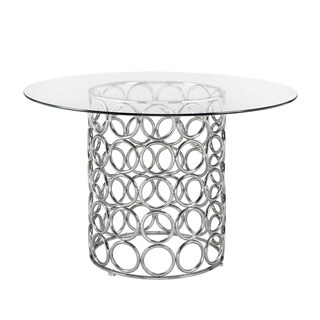 Liam Round Metal and Glass Dining Room Table