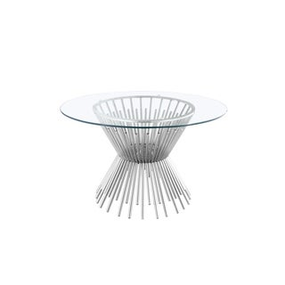Gus Round Metal and Glass Dining Room Table