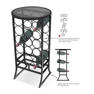 Sorbus Wine Storage Organizer Display Glass Table Top Rack - Holds 18 Bottles
