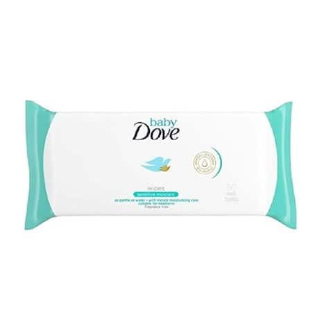 Dove Baby Wipes, Fragrance Free, Sensitive Moisture, As Gentle As Water, Suitable for Newborns, 50 Ct