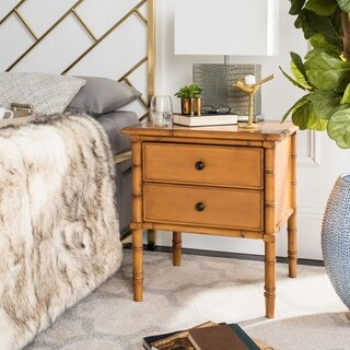 Safavieh Mina Modern Coastal2-Drawer Brown Bamboo Nightstand
