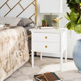 Safavieh Mina Modern Coastal 2-Drawer White Bamboo Nightstand