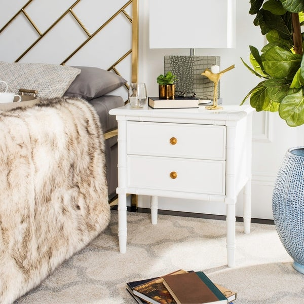 Safavieh Mina Modern Coastal 2-Drawer White Bamboo Nightstand
