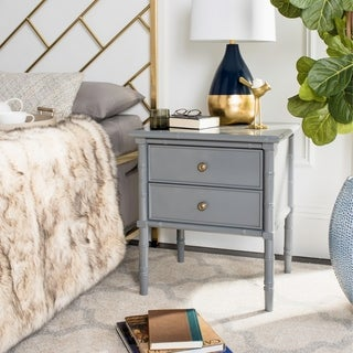 Safavieh Mina Modern Coastal 2-Drawer Grey Bamboo Nightstand