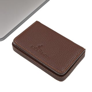 DEERLUX Brown Leather Card Case, Small Leather Wallet Card Holder with Magnetic Closure