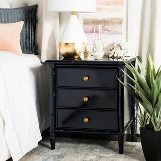 Safavieh Mina Modern Coastal 3-Drawer Navy Bamboo Nightstand