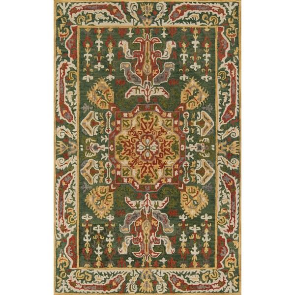 "Hand-Tufted Kasbah Averline Green Wool Rug - 9'6"" x 13'6"""
