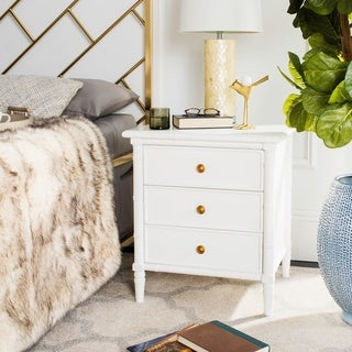 Link to Safavieh Mina Modern Coastal 3-Drawer White Bamboo Nightstand Similar Items in Bedroom Furniture