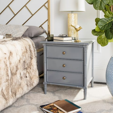 Safavieh Mina Modern Coastal 3-Drawer Grey Bamboo Nightstand