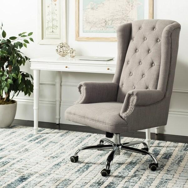 "Safavieh Ian Linen Chrome Leg Swivel Office Chair - 24.2"" x 27.2"" x 46.1"""