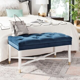 Safavieh Rory Glam Navy and White Tufted Bench