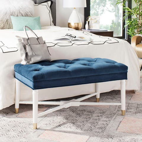 """Safavieh Rory Glam Navy and White Tufted Bench - 35.3"""" x 18.8"""" x 19"""""""