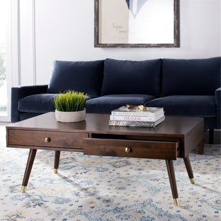 Safavieh Levinson Mid-Century Gold Cap Brown Coffee Table