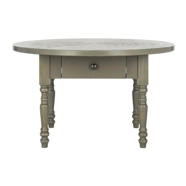 Distressed Round Coffee Tables: Shop Safavieh Knope Round Distressed Ash Grey Coffee Table