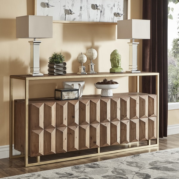 Shop Bailey 79 Inch Contemporary Wood And Brass Sofa Table