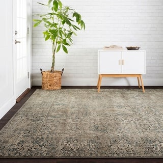"""Antique Inspired Vintage Grey/ Stone Distressed Rug - 9'6"""" x 13'"""