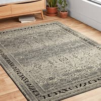"Antique Inspired Vintage Grey/ Brown Distressed Rug - 9'6"" x 13'"