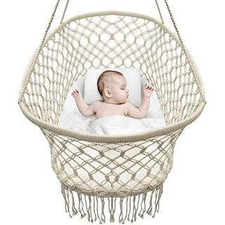 Sorbus Baby Crib Cradle, Hanging Bassinet and Portable Swing for Baby Nursery, Macramé Rope Fringe (Off White)