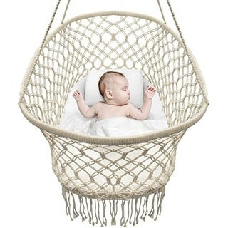 Sorbus Baby Crib Cradle, Hanging Bassinet and Portable Swing for Baby Nursery, Macrame Rope Fringe (Off White)