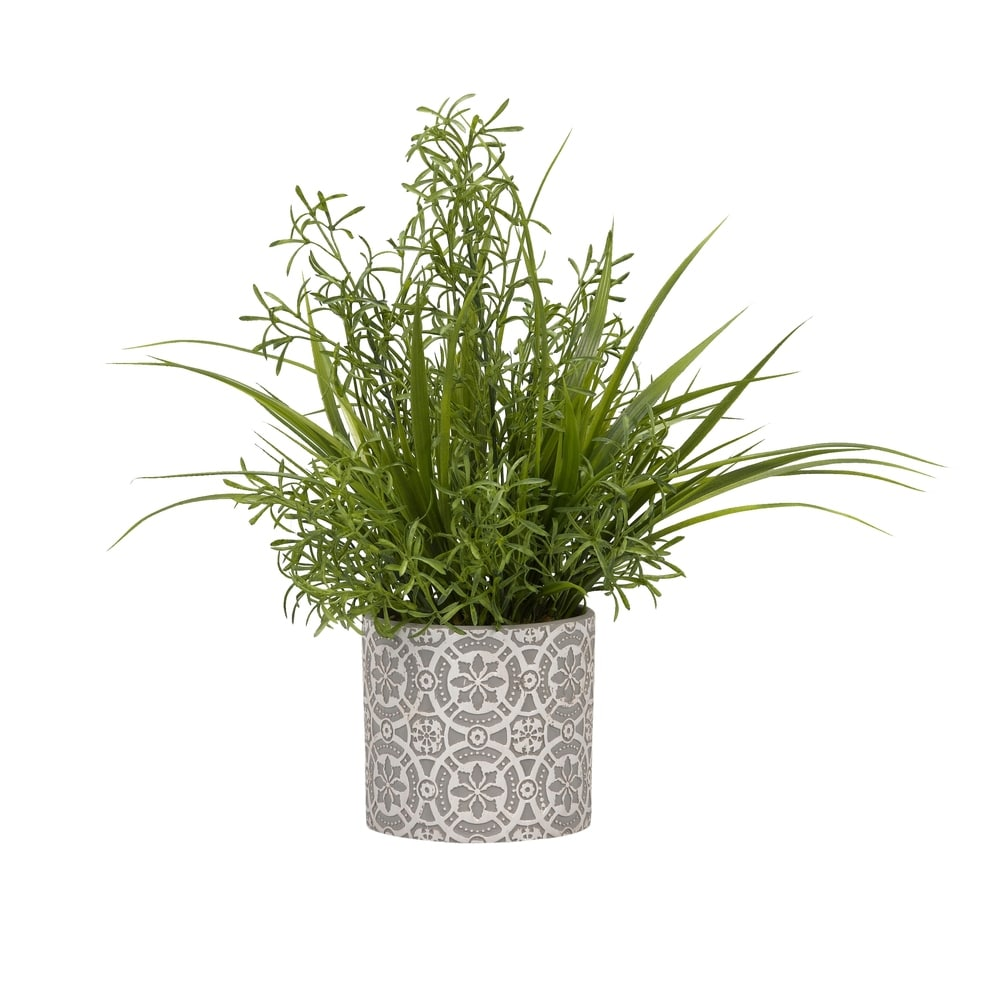 D W Silksd W Silks Boston Fern And Wild Grass In Oval Ceramic Planter Dailymail